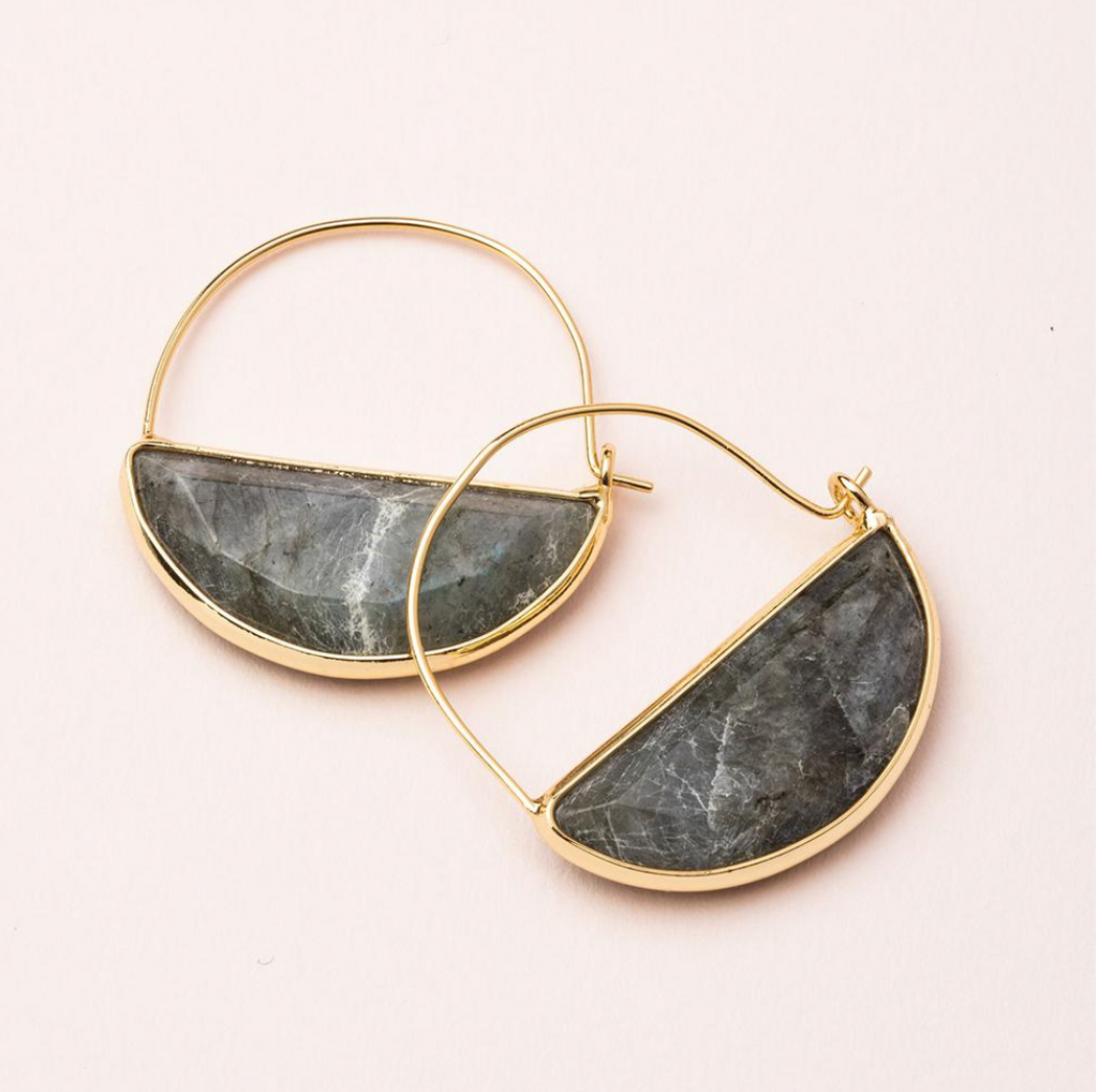 Scout Stone Prism Hoop Earrings Labradorite Stone Of Magic and Gold