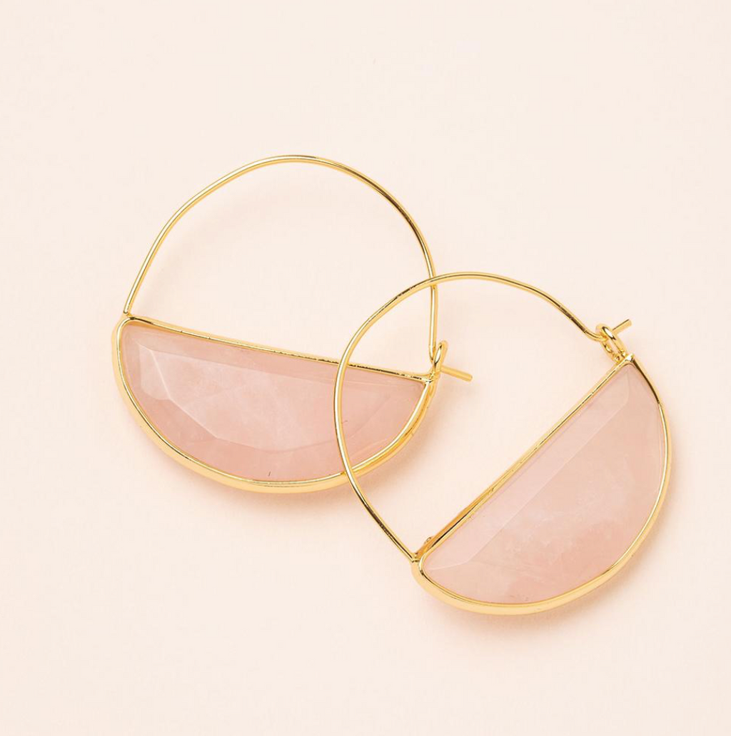 Scout Stone Prism Hoop Earrings Rose Quartz Stone Of The Heart  and Gold