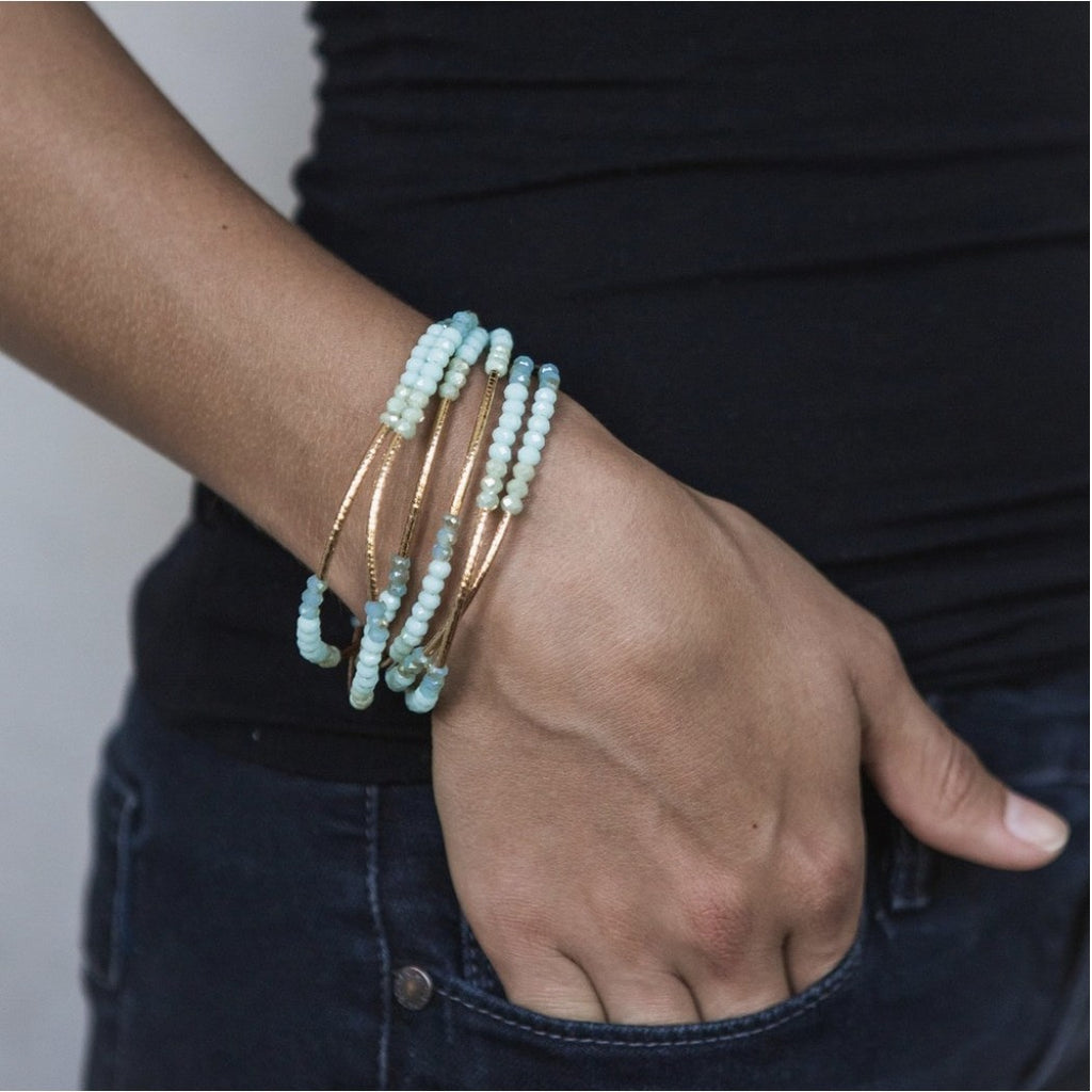Scout Curated Wears Scout Wrap Bracelet to Necklace Mist Combo and Silver