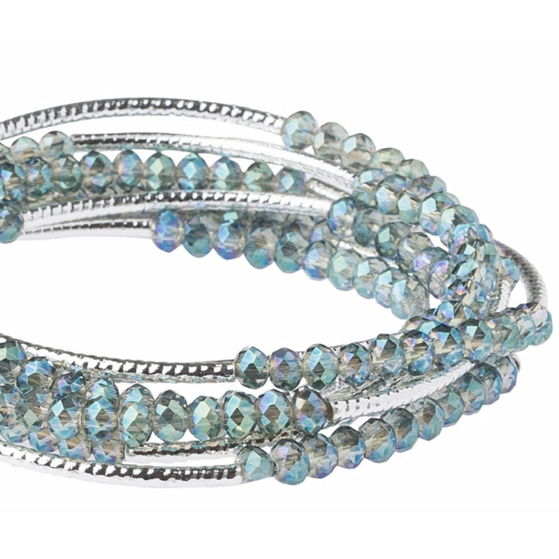 Scout Curated Wears Scout Wrap Bracelet to Necklace Seabreeze and Silver