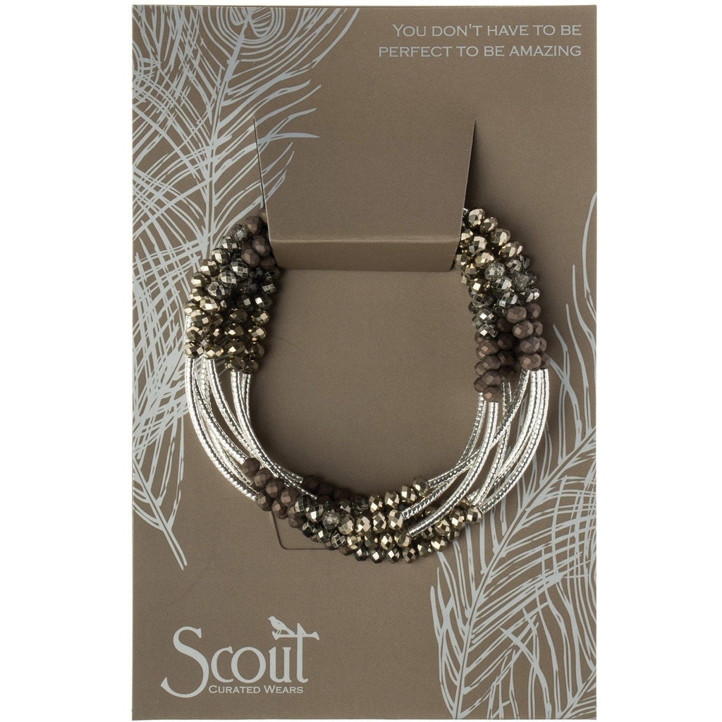 Scout Curated Wears Scout Wrap Bracelet to Necklace Metallic Trim Tone and Silver
