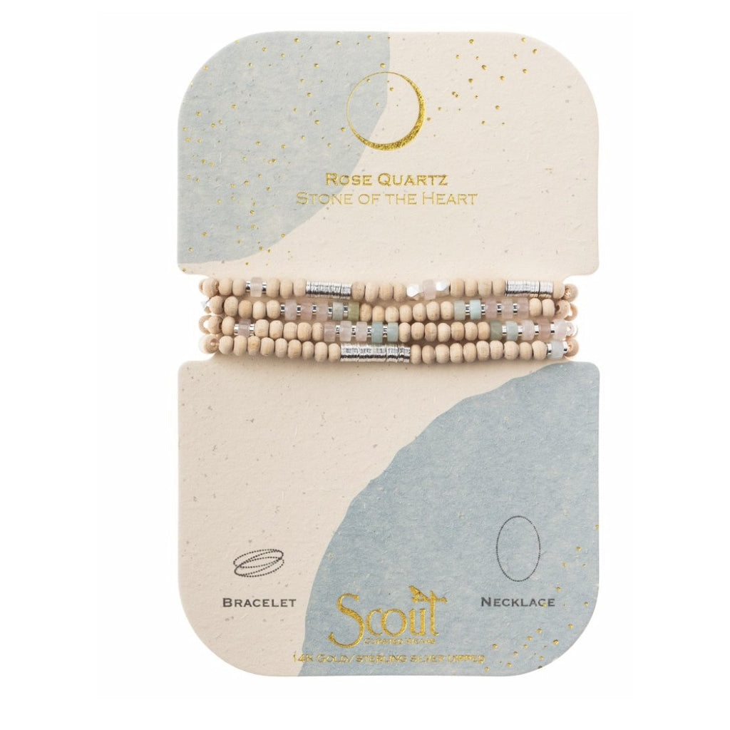 Scout Curated Wears Wood, Stone & Metal Wrap - Rose Quartz / Silver