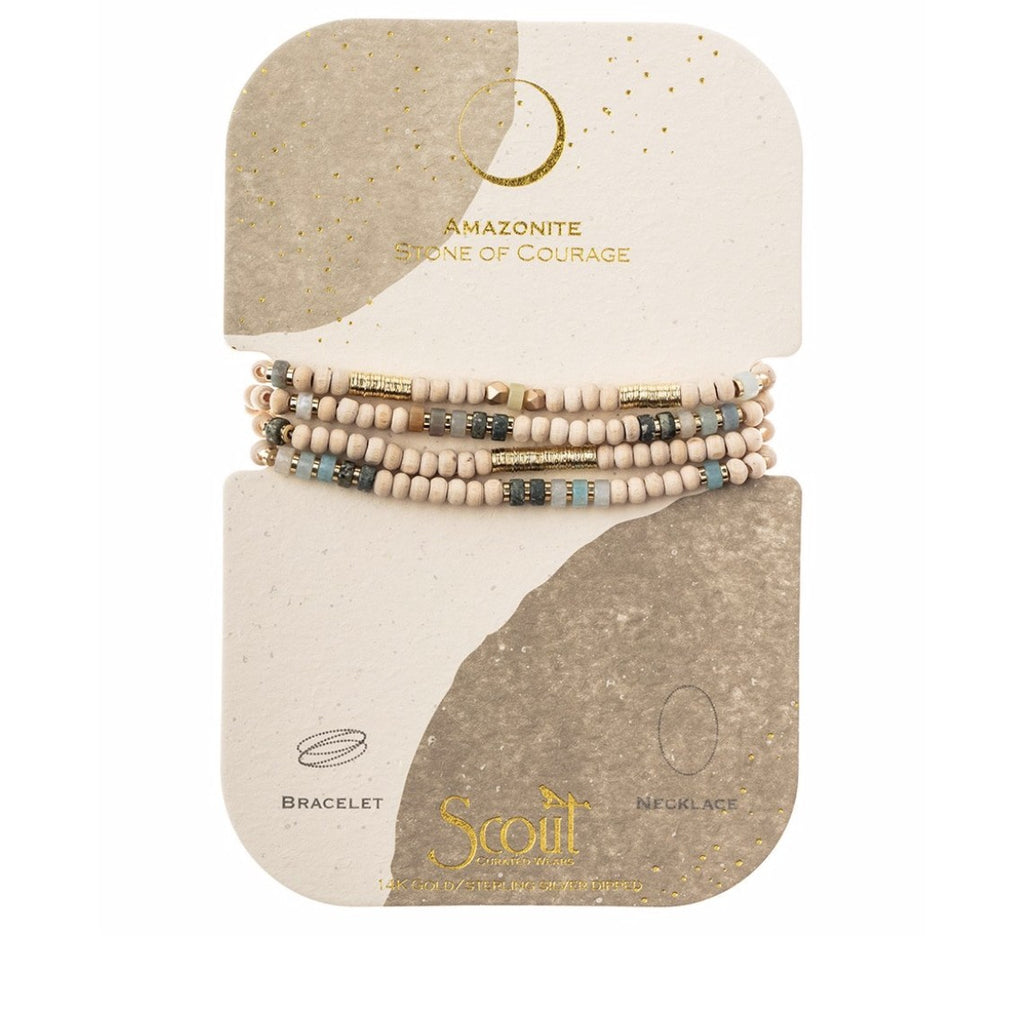 Scout Curated Wears Wood, Stone & Metal Wrap - Amazonite / Gold