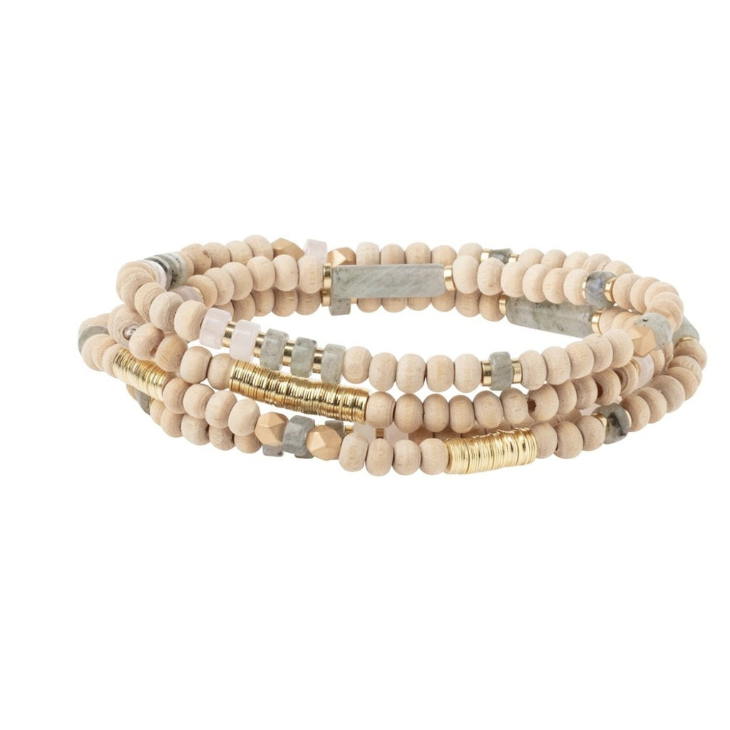 Scout Curated Wears Wood, Stone & Metal Wrap - Labradorite / Gold