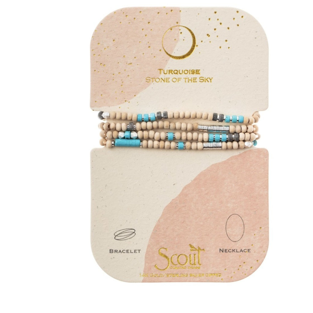 Scout Curated Wears Wood, Stone & Metal Wrap - Turquoise / Silver