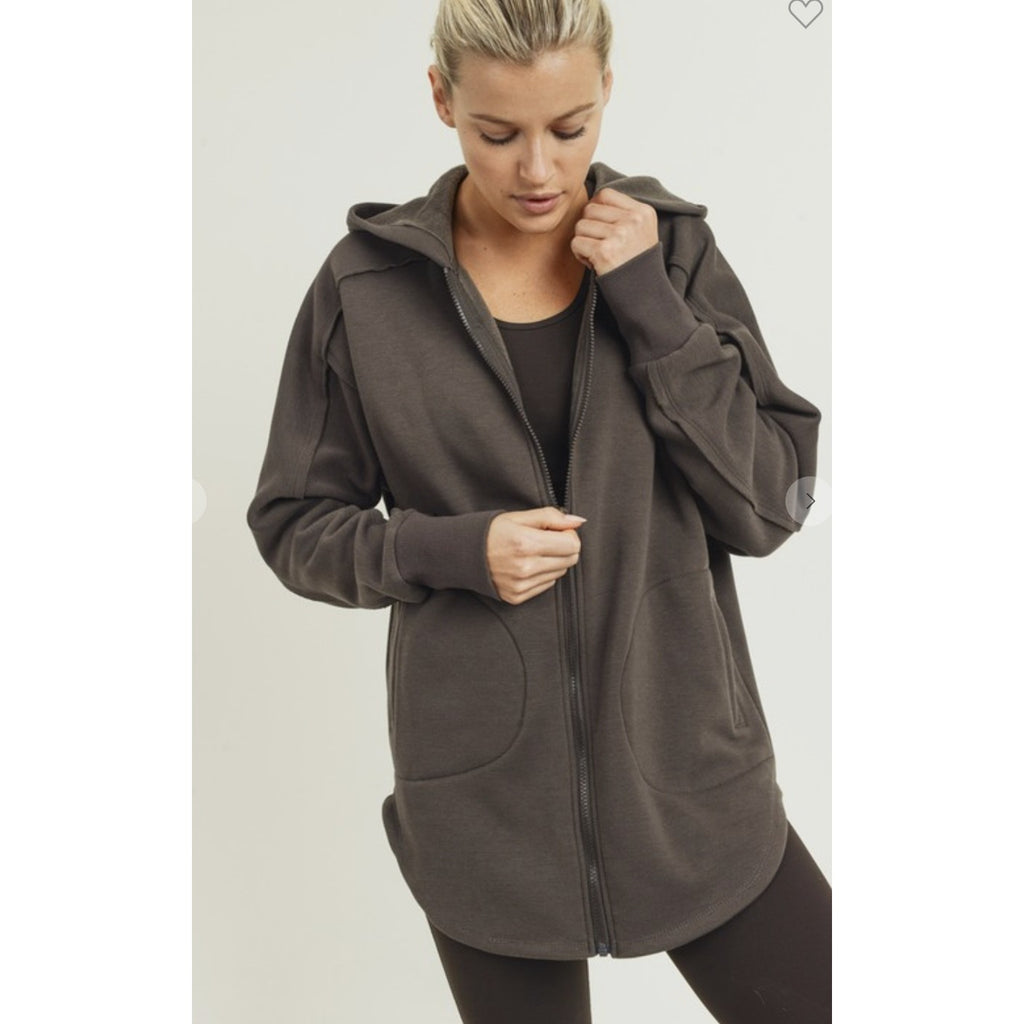 Longline Zip Up Hoodie Jacket
