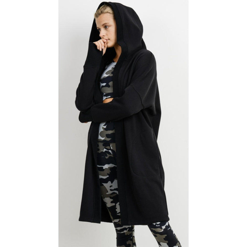 Open Front Long Line Hoodie Fleece Cardigan