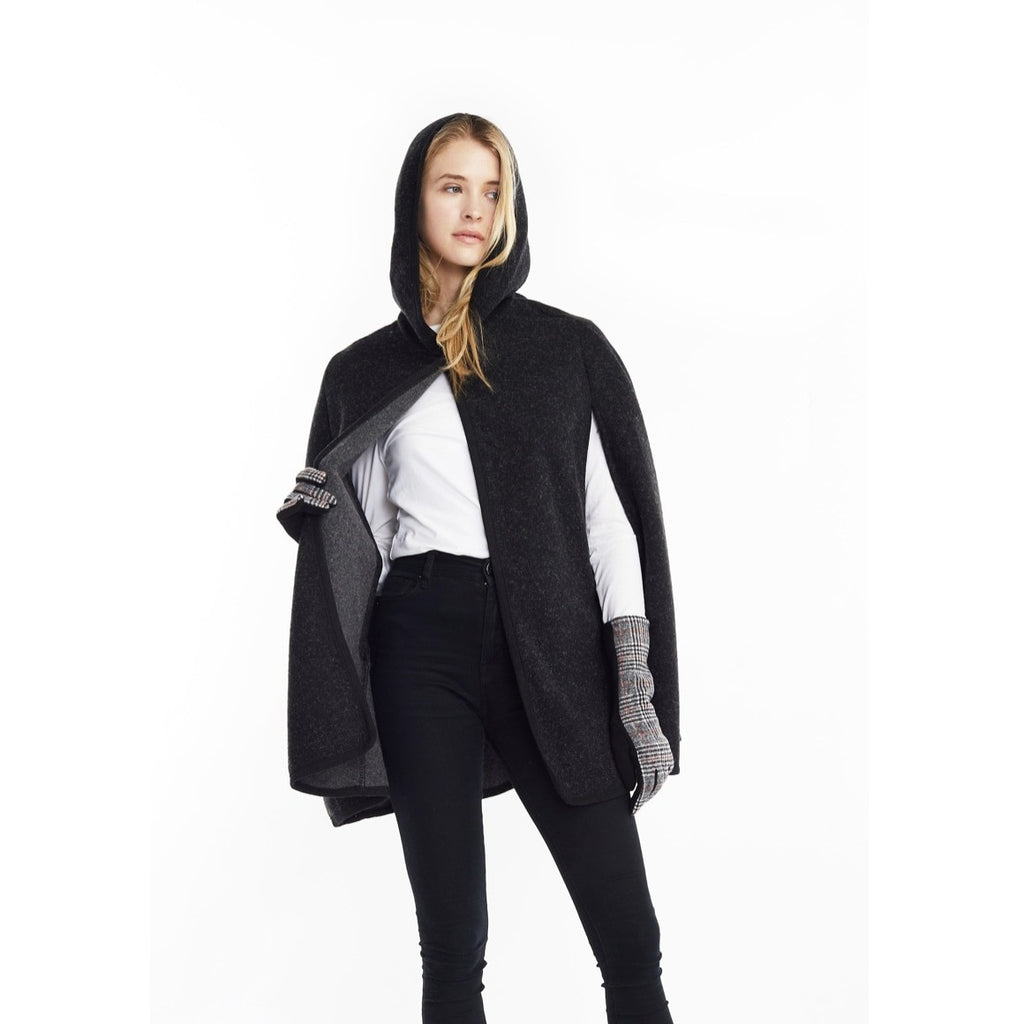Hoodie Cape Poncho In Black