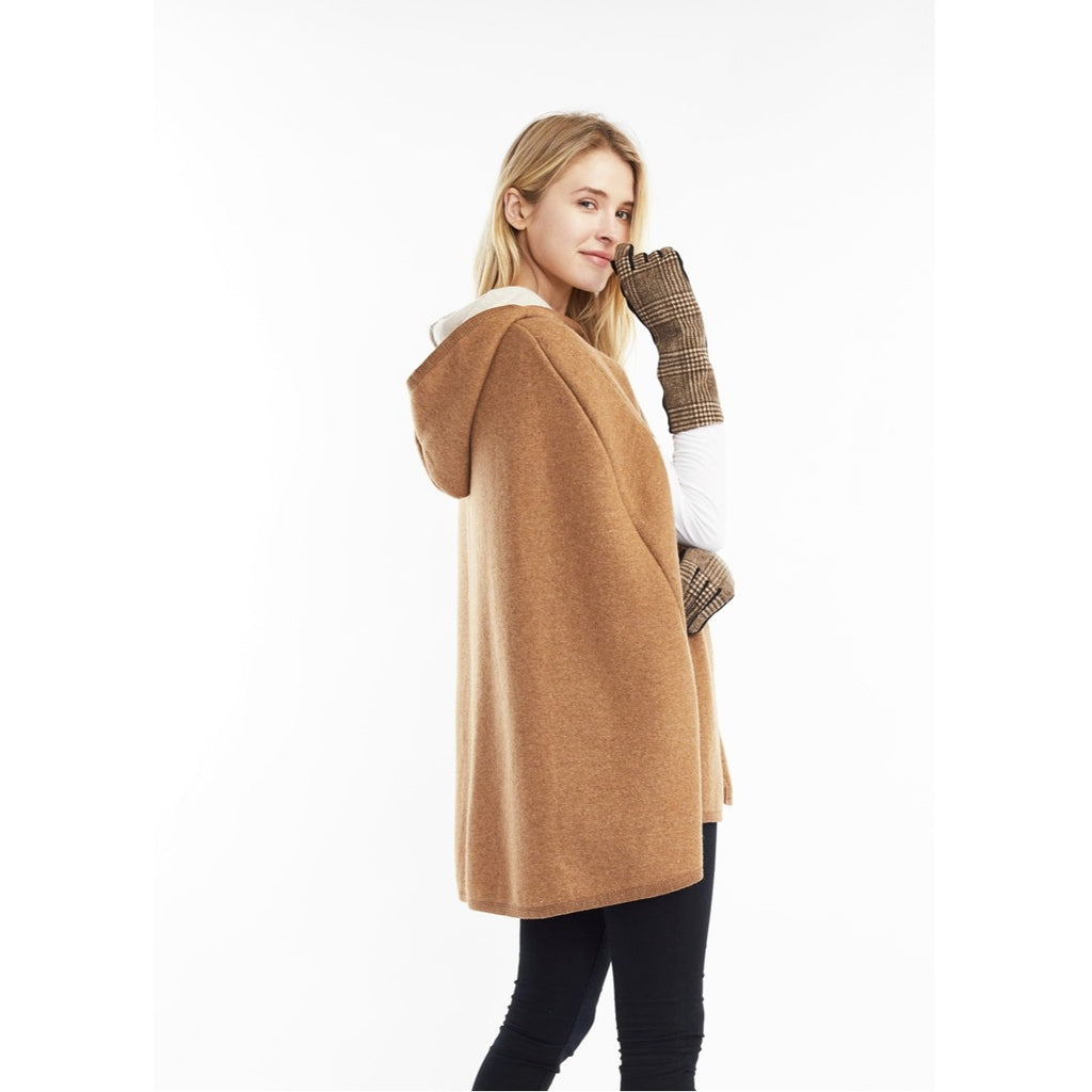 Hoodie Cape Poncho In Camel