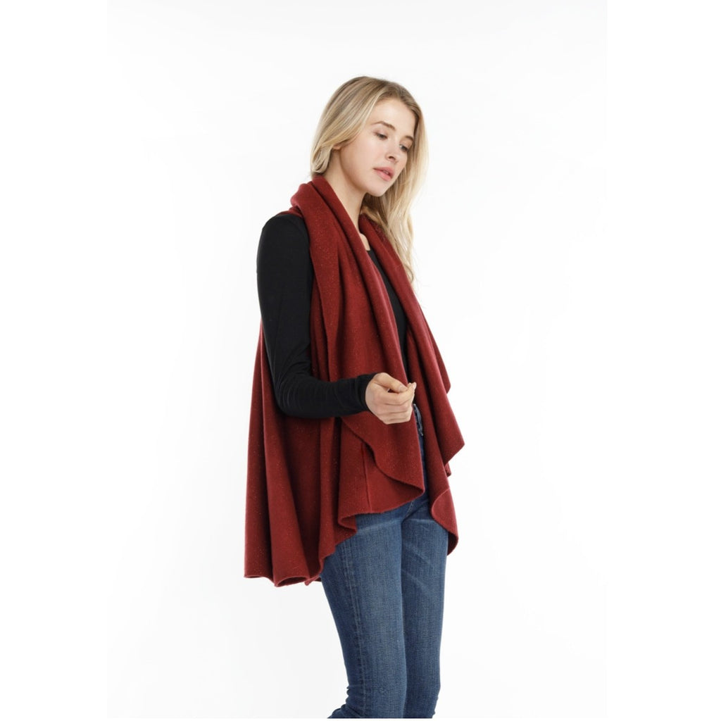 Look By M Shimmer Shawl Vest