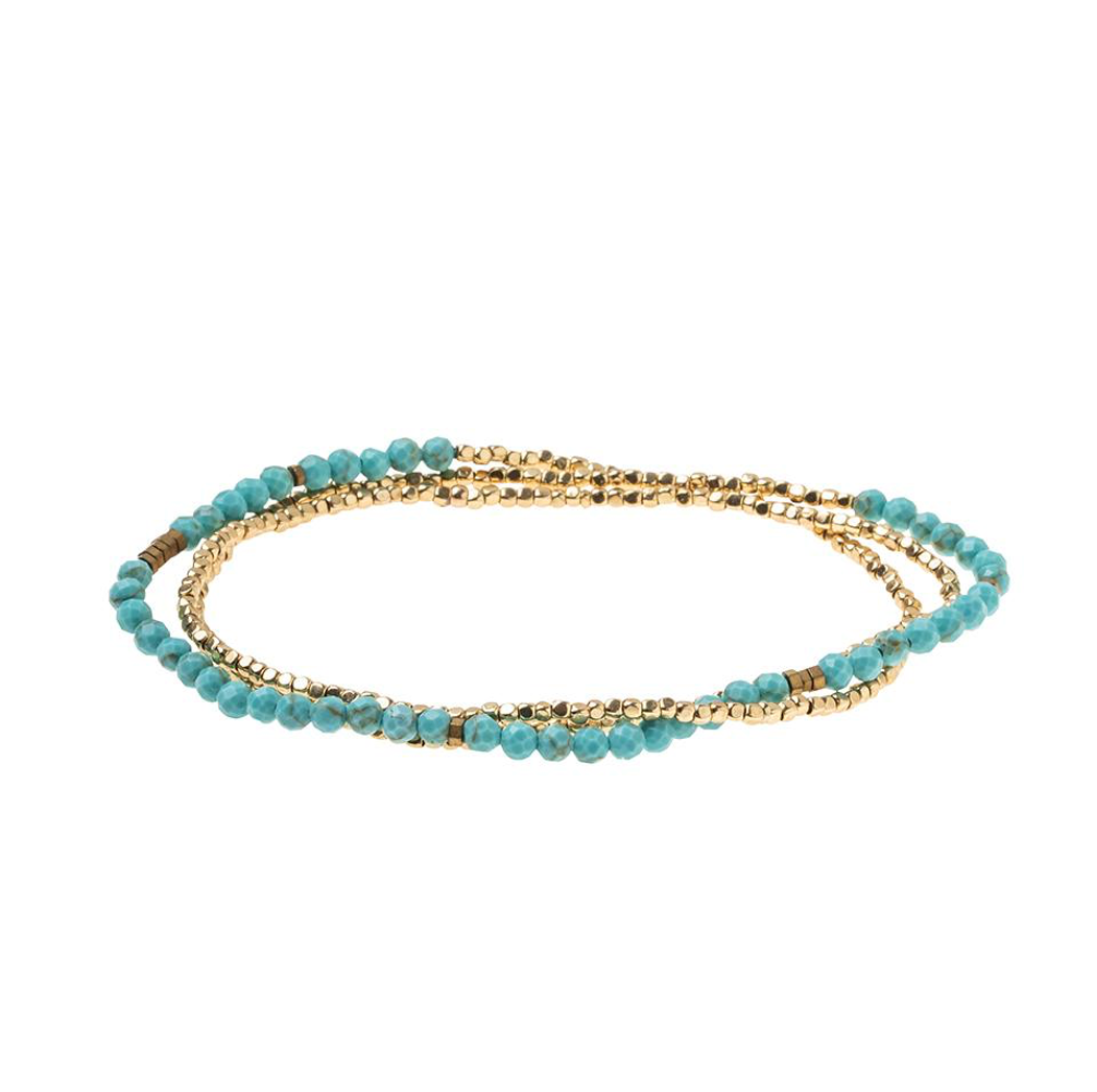 Scout Delicate Natural Stone Wrap Bracelet Necklace Turquoise Stone Of The Sky