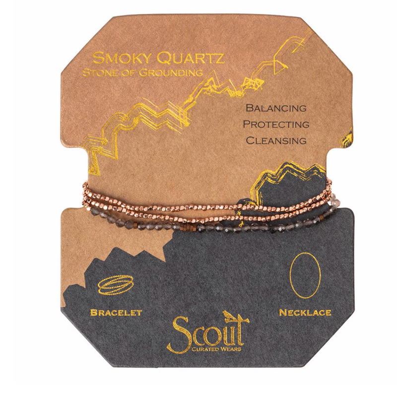 Scout Delicate Natural Stone Bracelet Wrap Smoky Quartz Stone Of Grounding