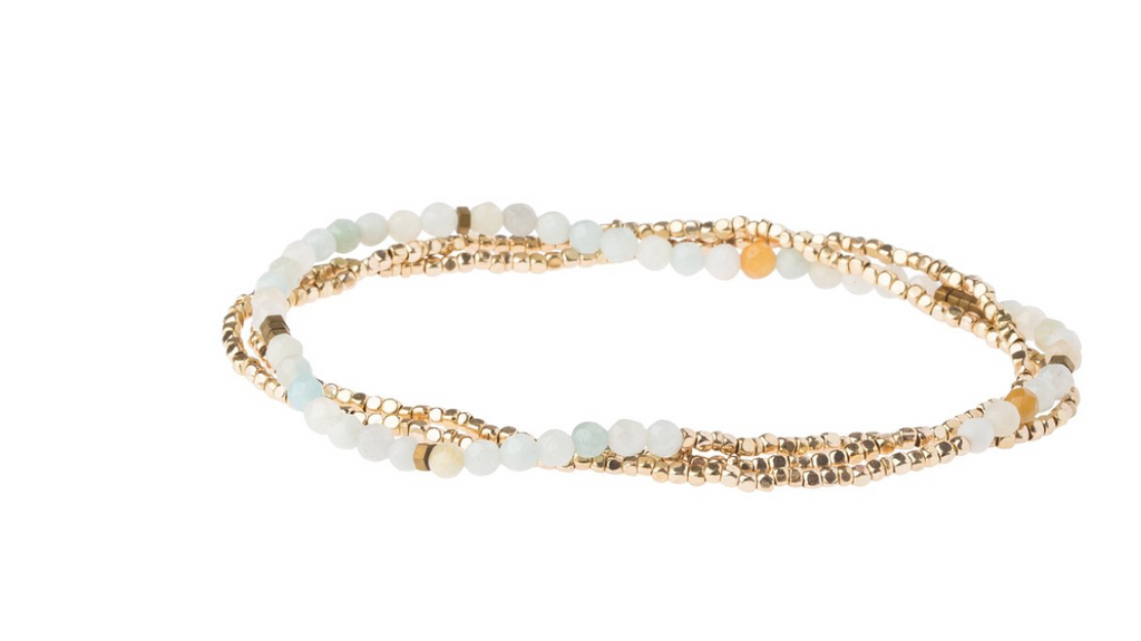Scout Delicate Natural Stone Wrap Bracelet Necklace Amazonite Stone Of Courage