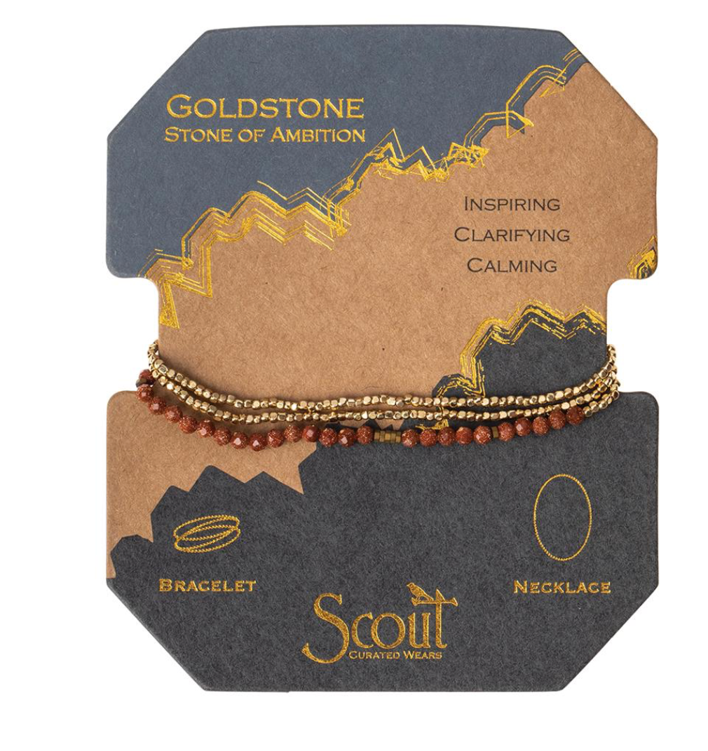 Scout Delicate Natural Stone Wrap Bracelet Necklace Goldstone Stone Of Ambition