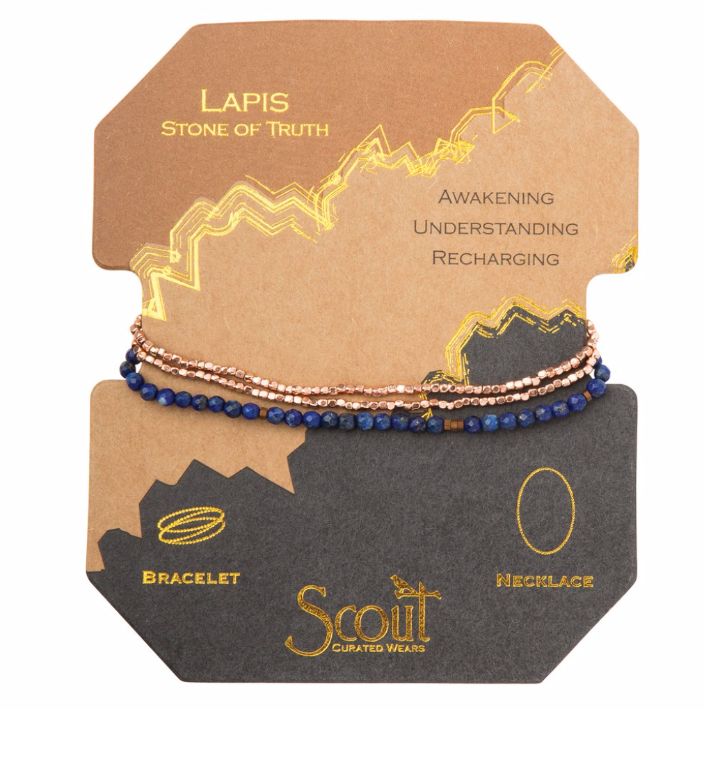 Scout Delicate Stone Wrap Bracelet Necklace Lapis Stone of Truth