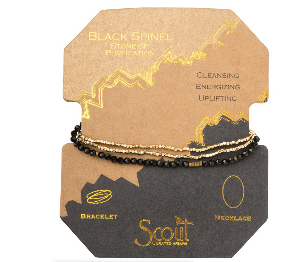 Scout Delicate Natural Stone Wrap Bracelet Necklace Black Spinel Sone Of Purification