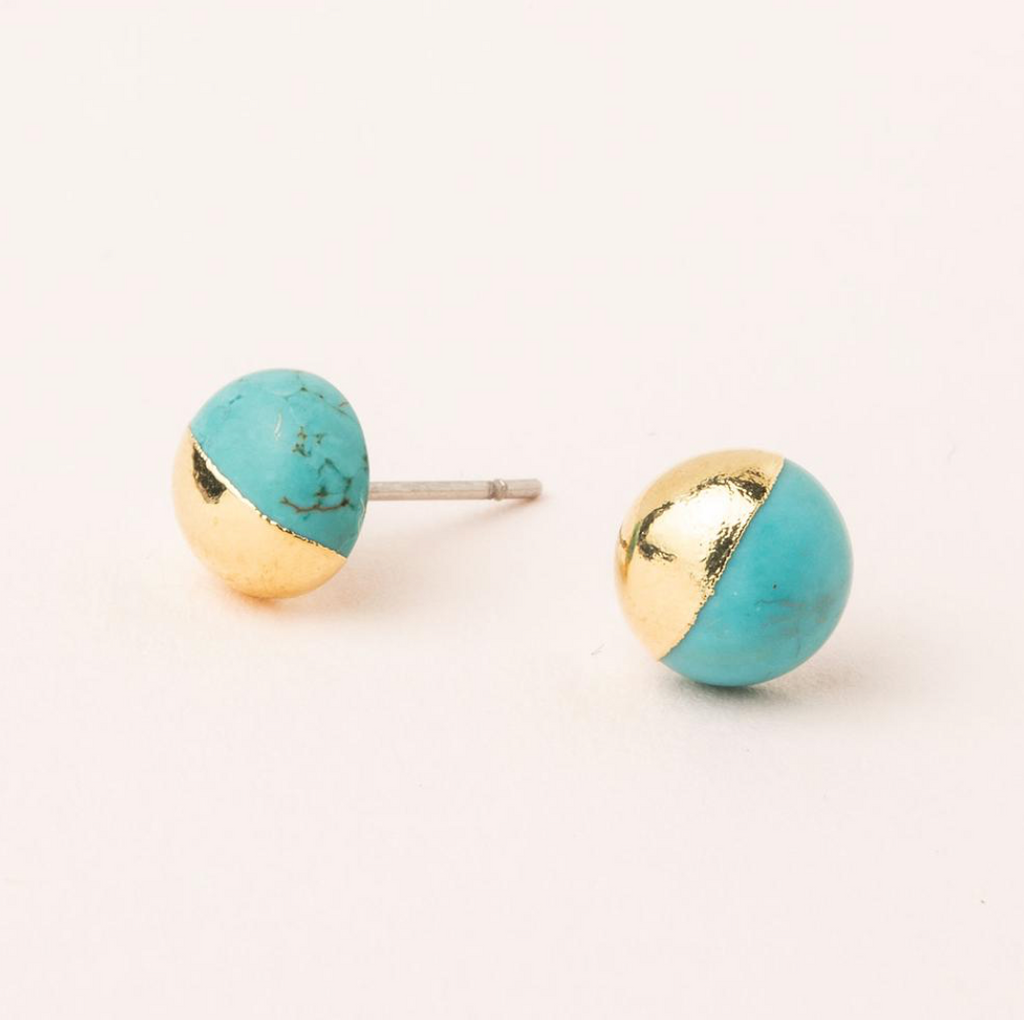 Scout Natural Dipped Stone Stud Earrings Turquoise Gold