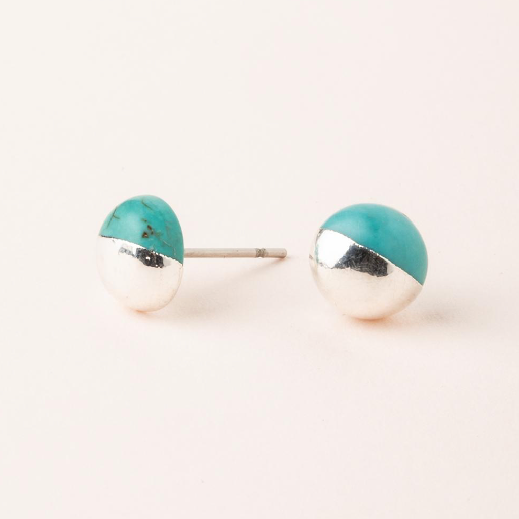 Scout Stone Dipped Stud Earrings - Turquoise & Silver