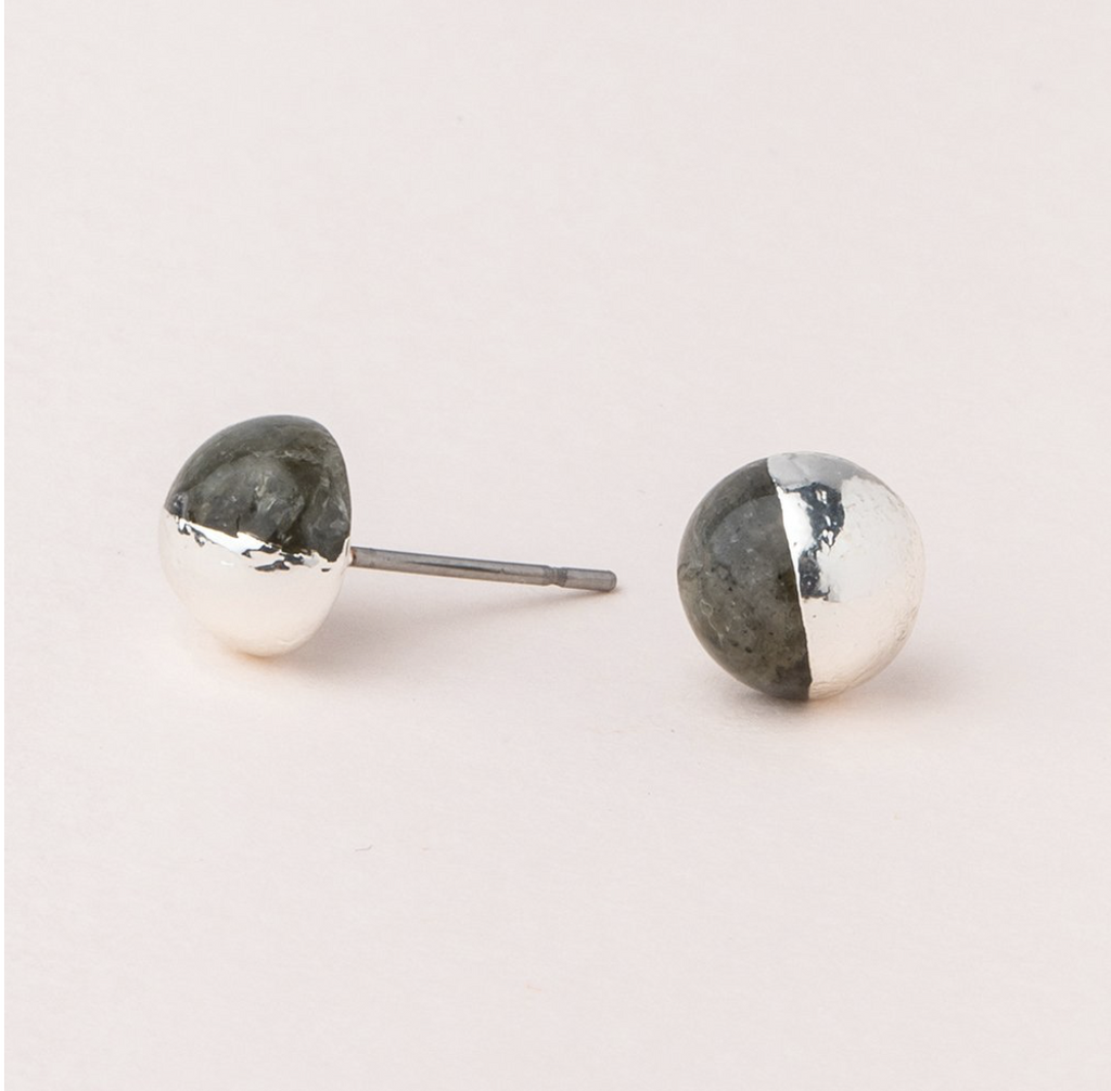 Scout Natural Dipped Stone Stud Earrings Labradorite Silver
