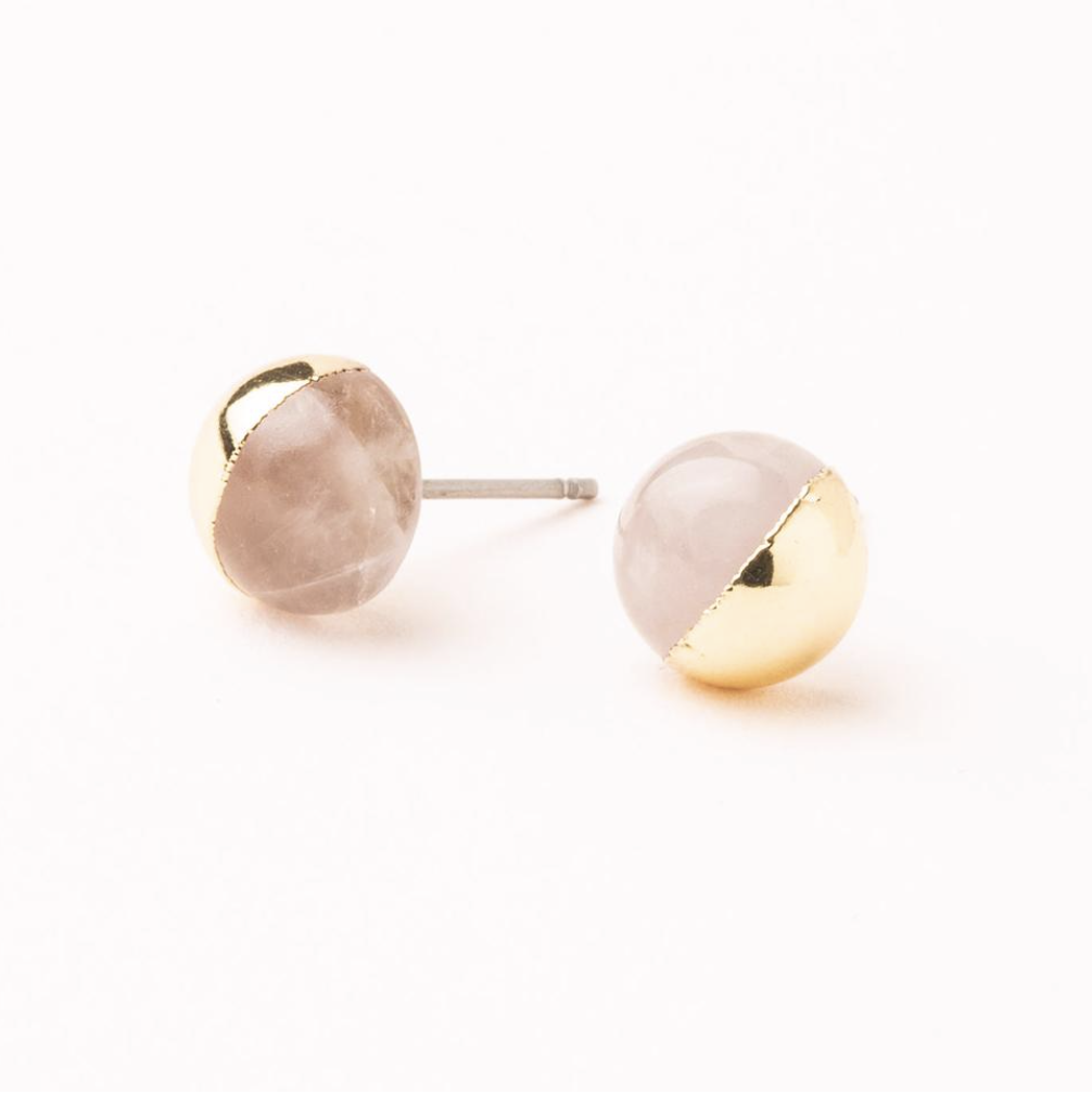 Scout Natural Dipped Stone Stud Earrings Rose Quartz And Gold