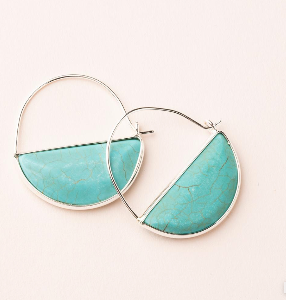 Scout Stone Prism Hoop Earrings Turquoise And Silver