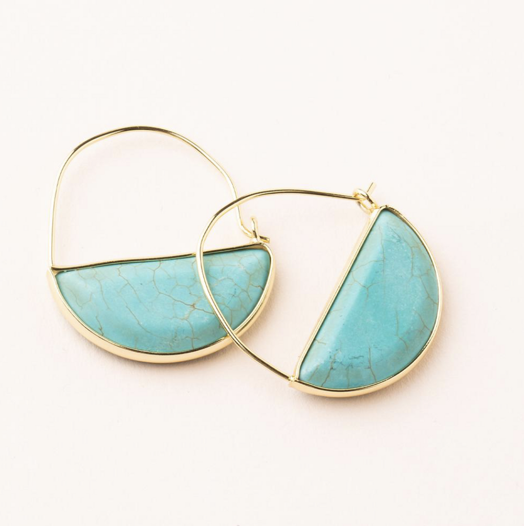 Scout Stone Prism Hoop Earrings Turquoise And Gold