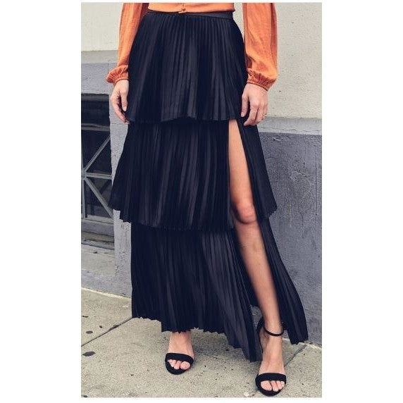 Sienna Black Pleated Skirt