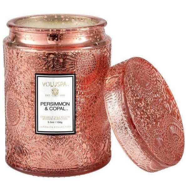 Voluspa Persimmon & Copal 5.5 oz Embossed glass jar candle