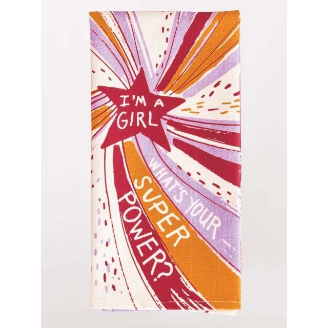 Blue Q I'm A Girl What's your super power dish towel