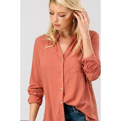 Marcy Solid Button Down Shirt - Rust
