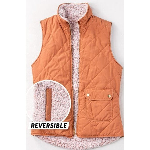 Reversible Sherpa Puffer Vest - Clay