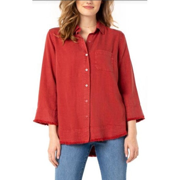 Liverpool Terra Rouge Fray Hem Button up shirt