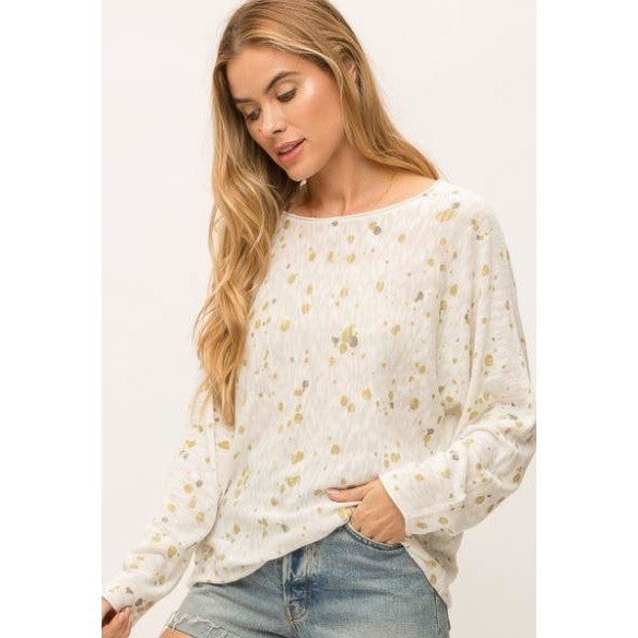 Mystree Ivory lightweigh raw edge sweater