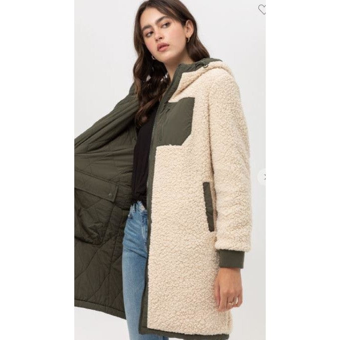 Oliver Long Sleeve Reversible Contrast Sherpa Coat