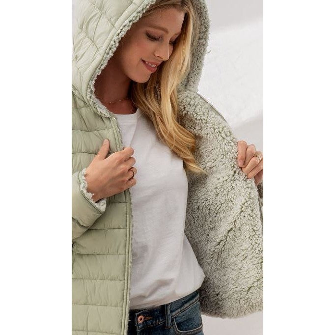 Sherpa Fleece Lined Reversible Puffer Jacket with Hood - 3 colors