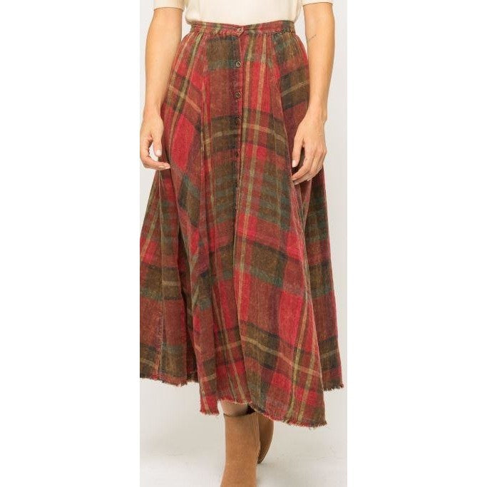 Deliah Double Plaid Maxi Skirt