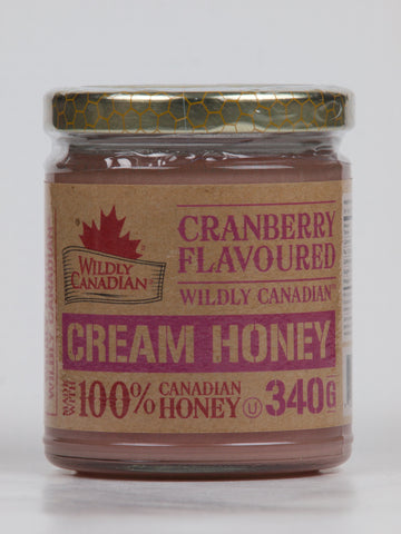 Cranberry Cream Honey Non-Pasteurized (340g) - The Canadian Wild Rice Mercantile Ltd.