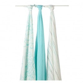 Aden + Anais Bamboo Swaddling Wraps - Azure 3 pack