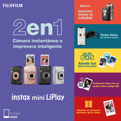 Cámara instax mini LiPlay blanca + SD 16GB + 2 pack