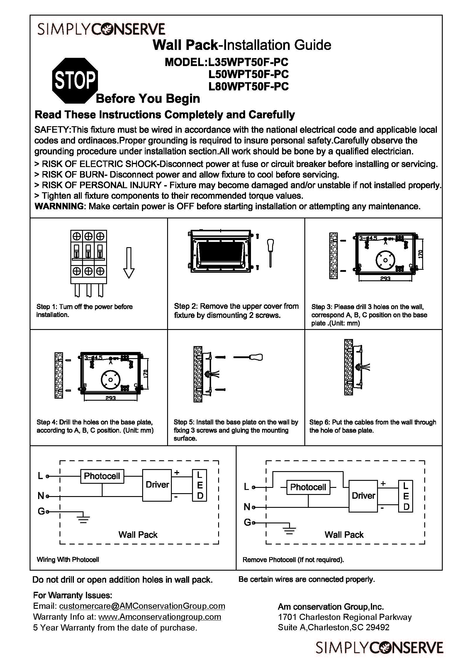 Step by step installation instructions for wall packs with a photocell.