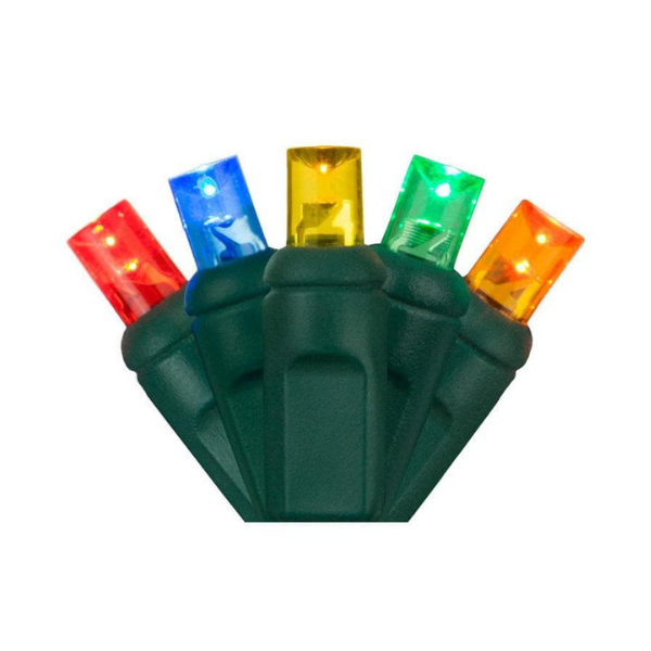 Five 5mm LED holiday lights in red, blue, yellow, green, and orange with a green base.