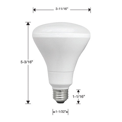 One TCP BR30 light bulb with measurements. 5 3/16 inches tall total. 3 11/16 inches wide at bulb. 1 1/32 inches wide at base. 1 1/16 inches tall at base.