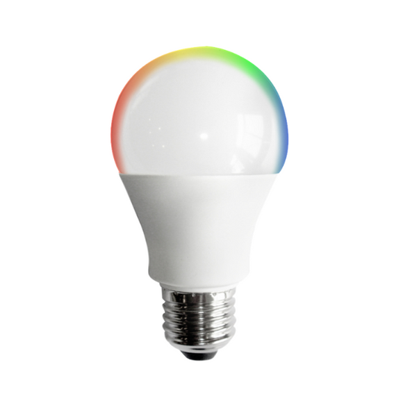 An A19 light bulb with a rainbow halo