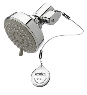 Evolve multi-function showerhead with thermostatic valve shown on an angle