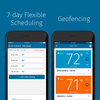 "Two smart phones showing the Sensi app and text ""7-day flexible scheduling"" and ""geofencing."""