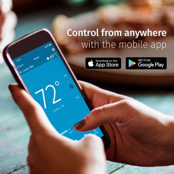 "Hands holding a smart phone showing the Sensi app and text ""Control from anywhere with the mobile app."""
