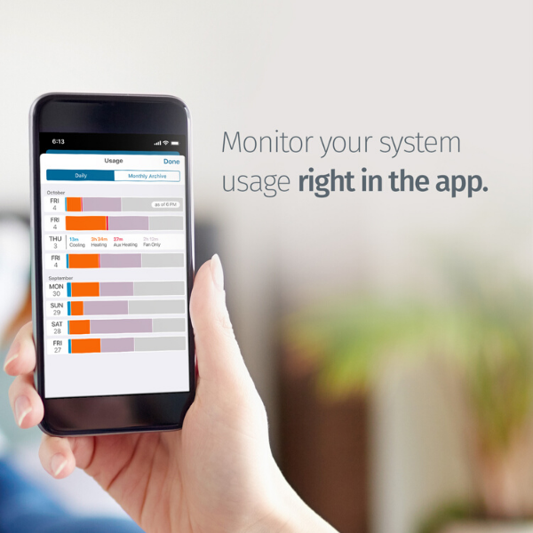 "Hand holding a smart phone showing the Sensi app and text ""Monitor your system usage right in the app."""