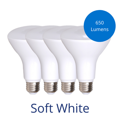 Four BR30 bulbs in Soft white with a burst reading 650 lumens