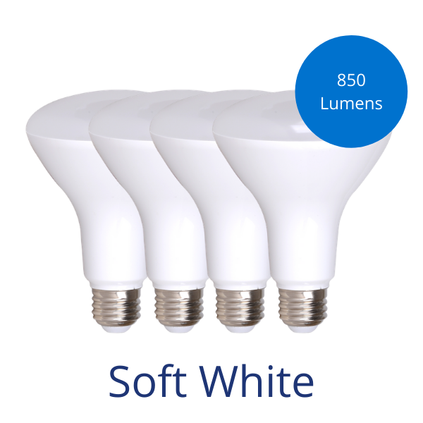 Four BR30 bulbs in soft white with a burst reading 850 lumens