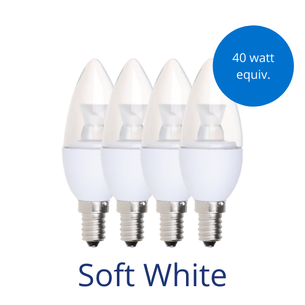 Four clear candelabra light bulbs in soft white with a burst reading 40 watt equivalent